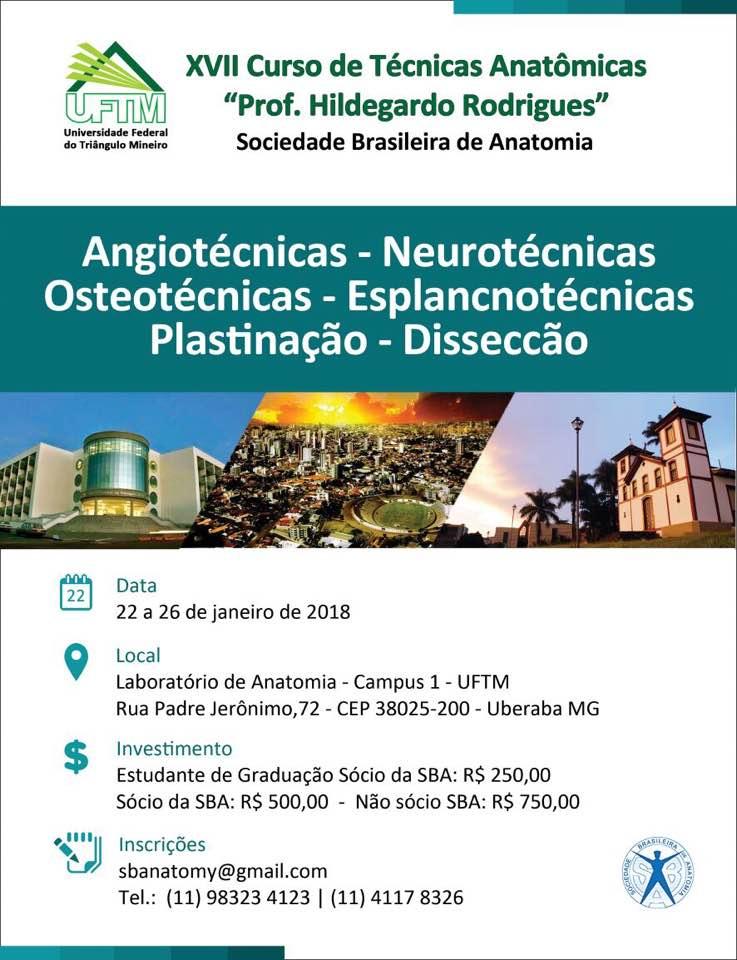 XVII Curso de Técnicas Anatômicas Prof. Hildegardo Rodrigues da Sociedade Brasileira de Anatomia