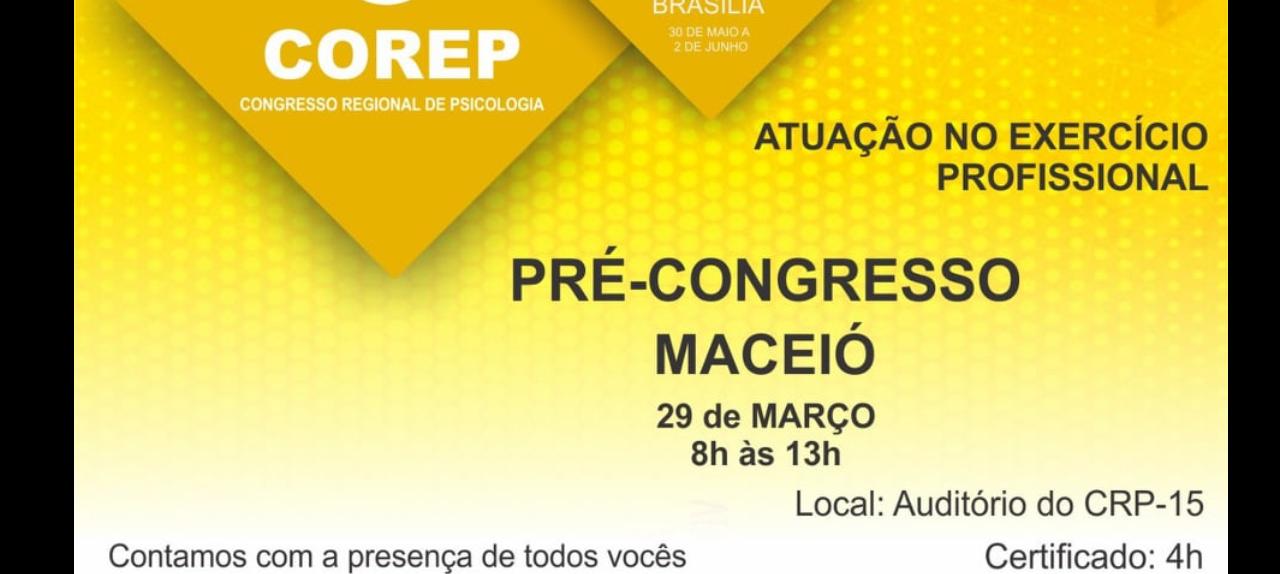 CRP-15 vai promover o 5º pré-corep em Maceió no dia 29 de março