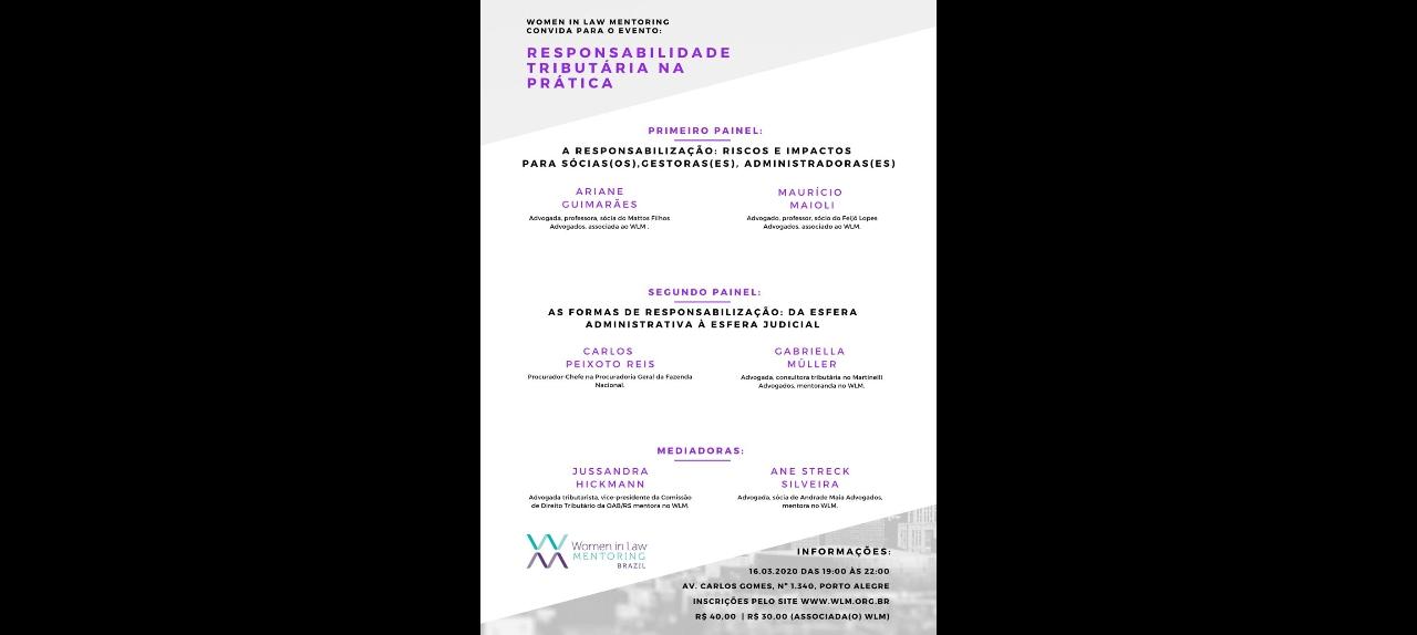 WLM - RESPONSABILIDADE TRIBUTÁRIA NA PRÁTICA - 16/03/2020 - 19H ÀS 22H