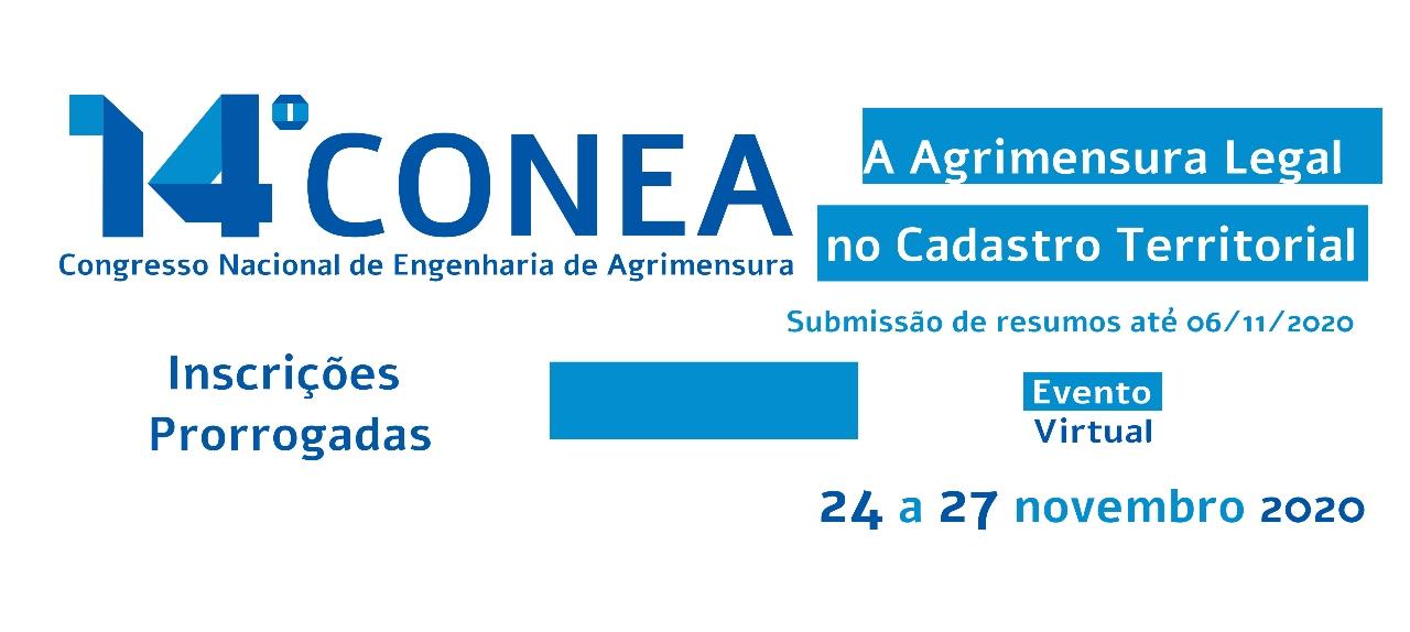 14º Congresso Nacional de Engenharia e Agrimensura (CONEA 2020)