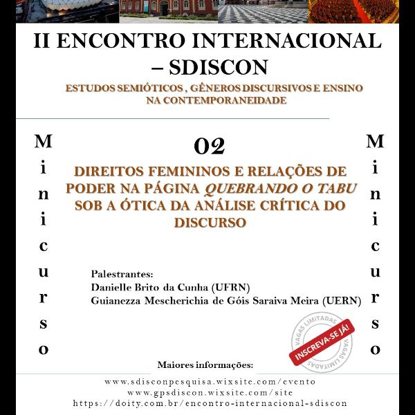 Minicurso 2 DIREITOS FEMININOS E RELAÇÕES DE PODER NA PÁGINA QUEBRANDO O  TABU SOB A ÓTICA 0424bd9be7