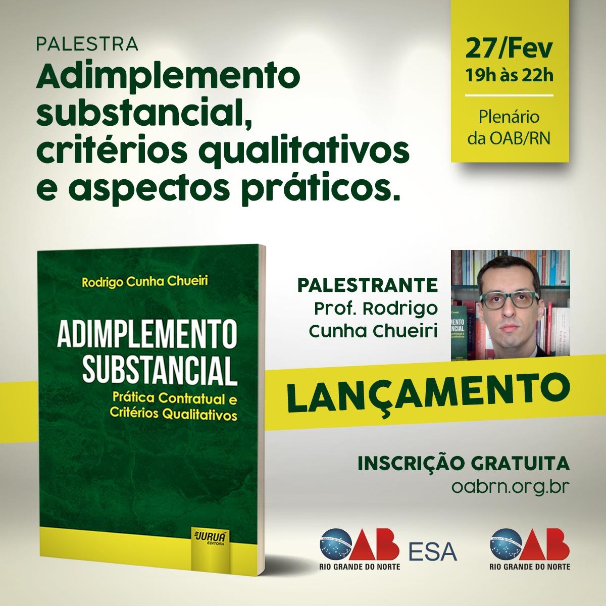 """Palestra: Discussão do tema """"Adimplemento substancial, critérios qualitativos e aspectos práticos""""."""