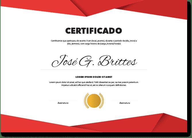 Certificados para eventos na versão online